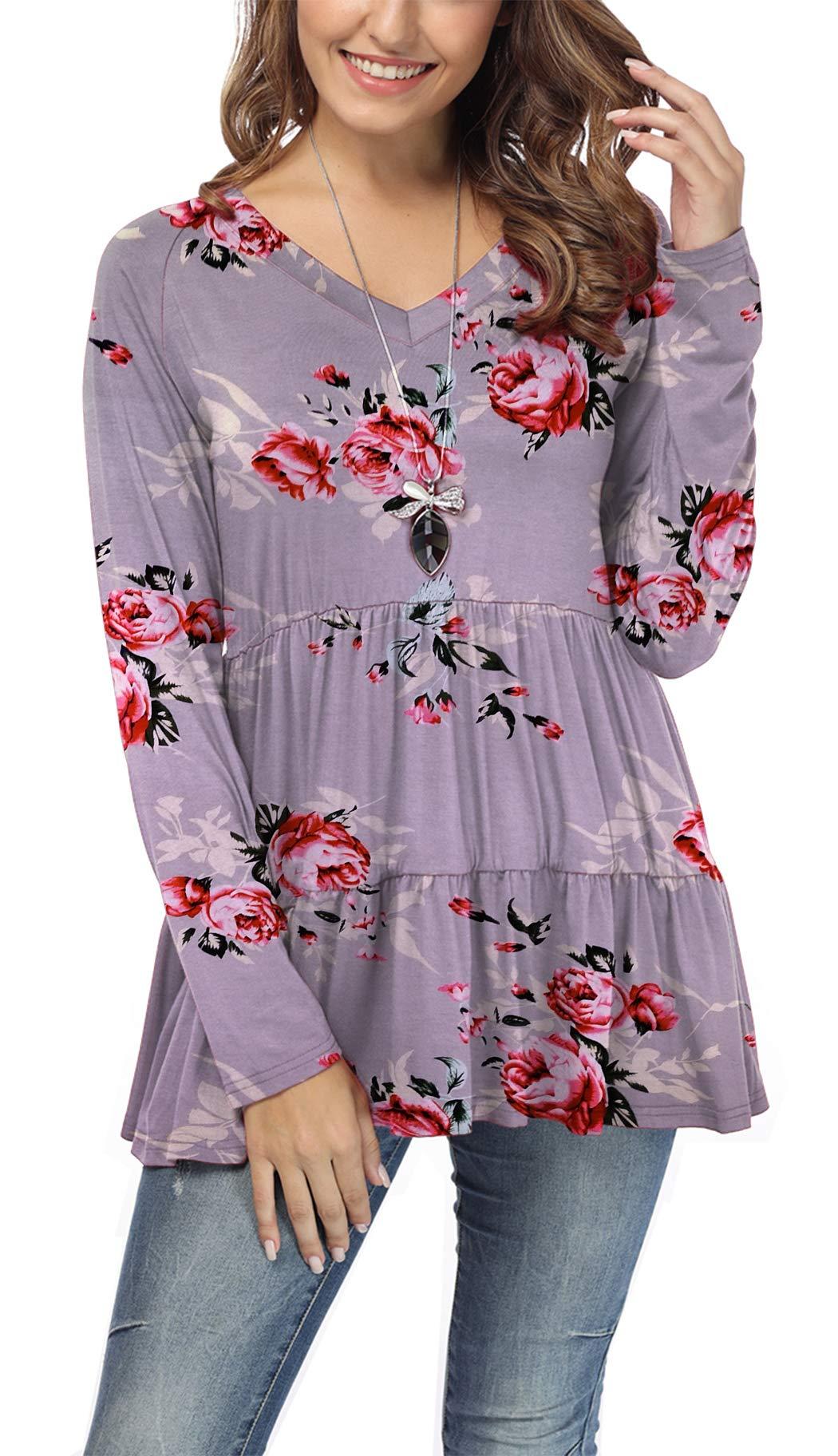 iGENJUN Women's Casual Long Sleeve Ruffle Loose Swing Tunic Floral Tops,DG4,S