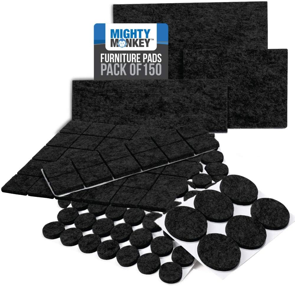 MIGHTY MONKEY Felt Furniture Gripper Pads, 150 Pack, Easy Glide Floor Protectors, Pad Prevents Scratches on Wood Floors, Adhesive Strips Secure to Chair Leg, Heavy Duty, Protects Hardwood, Black