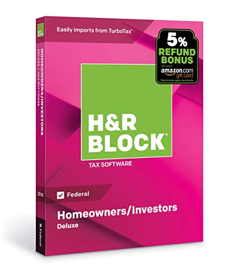 Tax On Bonus Uk >> H R Block Tax Software Deluxe 2018 Federal Only With 5