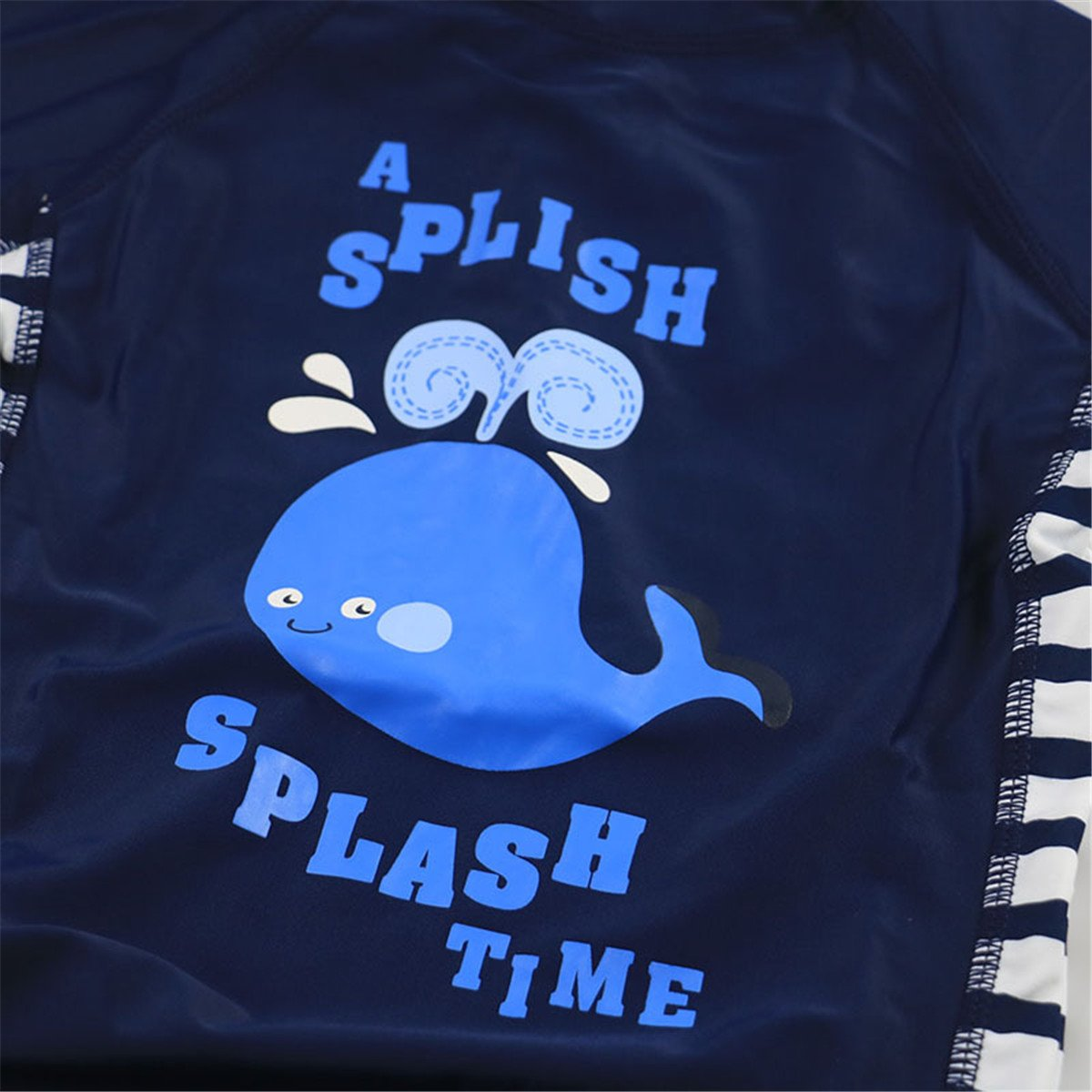 UV Swimsuit with Sun Hat REWANGOING Baby Kids Boys Girls One Pieces Cartoon Print Long Sleeve Rash Guard UPF 50