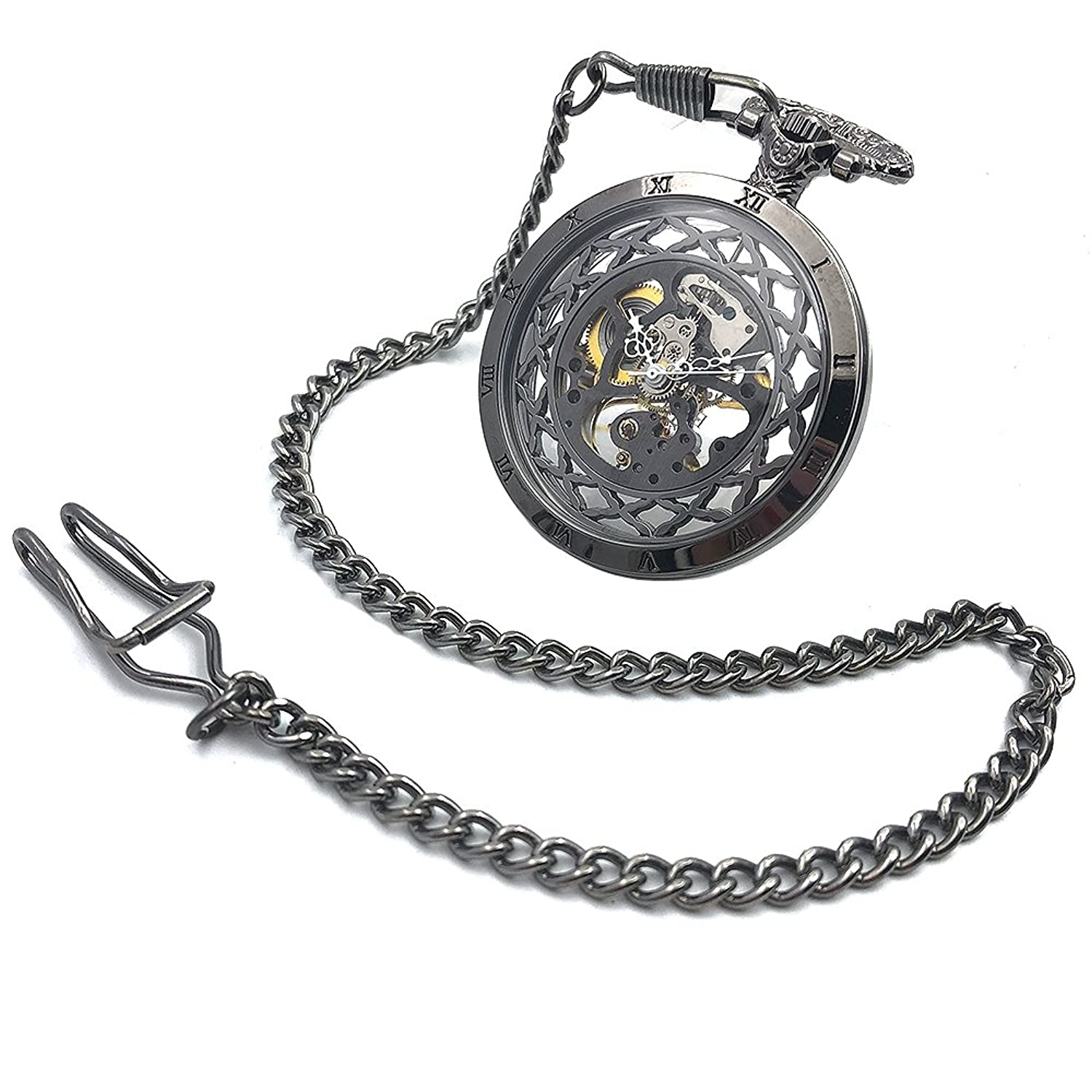 Amazon.com: CAIFU Brand New Arrival Open Face Black Case Skeleton Steampunk Hand Wind Mens Pocket Watch W/Chain Reloj De Bolsillo: Watches
