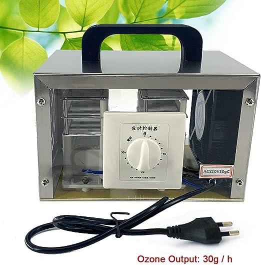 TABODD 220 V Generador de ozono portátil, generador de ozono del Aire Comercial 30 g/h y purificador de Aire con función de temporización para casa, Coche en el ...
