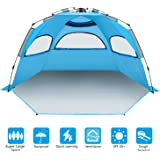 BATTOP 4-5 Person Instant Beach Tent Sun Shelter - Easy Pop Up Sun Shade for Beach - Deluxe X-Large for Family