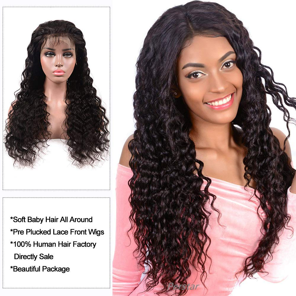 Amazon.com   Brazilian Deep Wave Human Hair Lace Front Wigs For Black Women  150% Density 100% Unprocessed Virgin Human Hair Wig with Baby Hair 24 inch  Lace ... 5a99634811