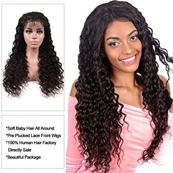 Amazon.com   Brazilian Deep Wave Lace Front Wig Glueless Lace Front Human  Hair Wigs For Women Black Pre Plucked Unprocessed Virgin Brazilian Hair  Wig(18 ... 68133bc896