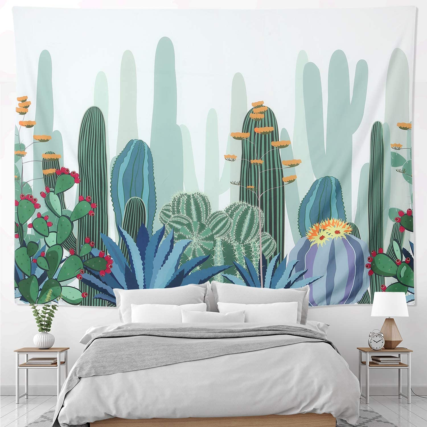 HOMKUMY Cactus Wall Tapestry, Bohemian Hippie Tapestry Psychedelic Indian Wall Hanging Tapestry for Home Decor Bedroom Living Room, Medium 59x51 Inches