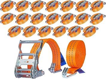 20 Stück 2000kg 6m Spanngurte Mit Ratsche 2 Teilig Zweiteilig Mit Haken Zurrgurte Ratschengurt Orange 35mm 2000 Dan 2t Industrie Planet Baumarkt