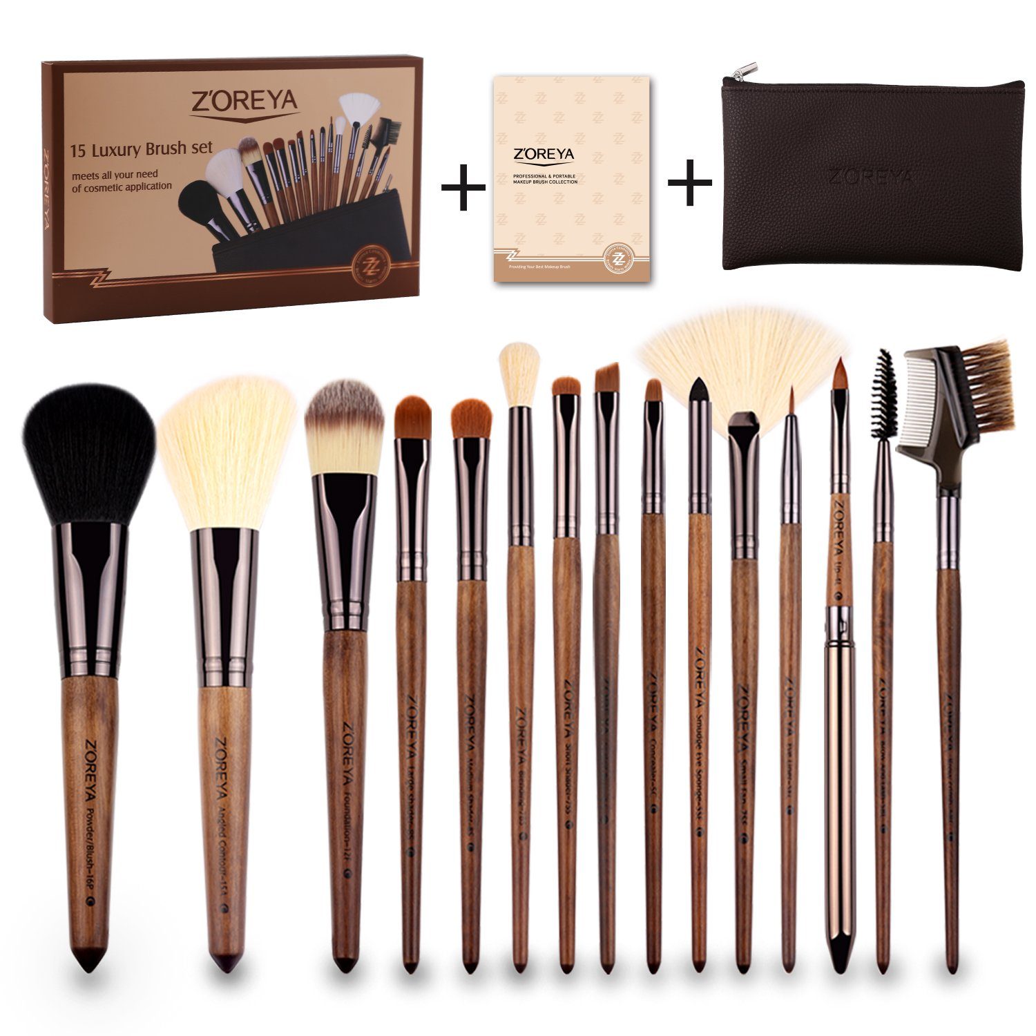 Amazoncom Zoreya(Tm) Makeup Brushes 15Pc High End Real Walnut Handle
