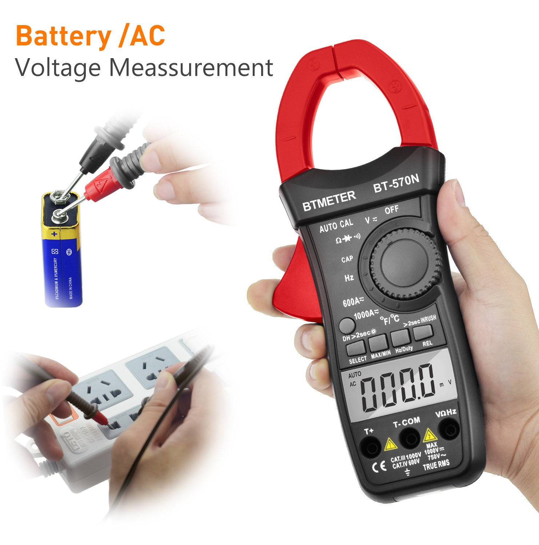 Duty Cycle BTMETER BT-570C-APP Auto Range AC DC amp Clamp Meter 4000 Counts Cap Clamp Multimeter Hz Resistance Temperature