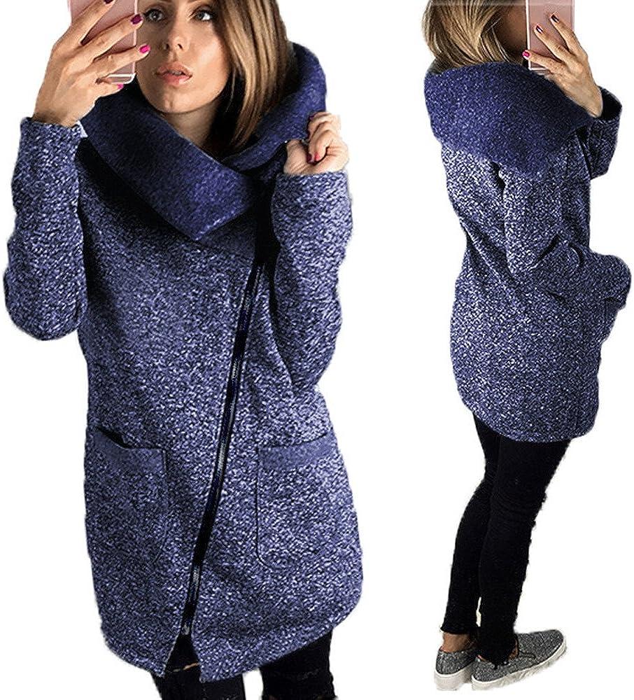 Gillberry Womens Casual Hooded Jacket Coat Long Zipper Sweatshirt Outwear Tops
