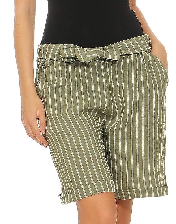 Malito Mujer Pantalones de Lino Pantalones Cortos Bermuda Rayas 6820