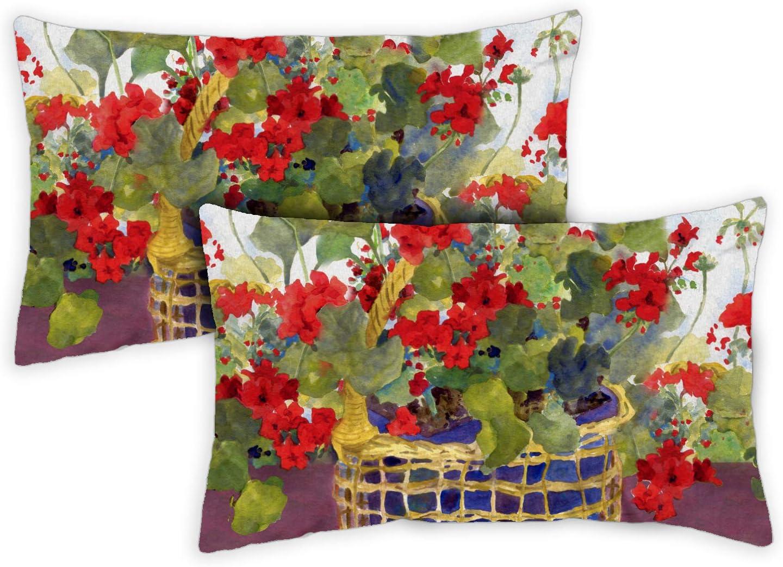Toland Home Garden Geranium Basket 12 x 19 Inch Indoor/Outdoor, Pillow Case (2-Pack)