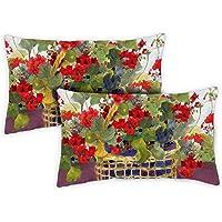 Toland Home Garden 731218 Geranium Basket 2-Pack 12x 19 Inch, Indoor/Outdoor Pillow with Insert
