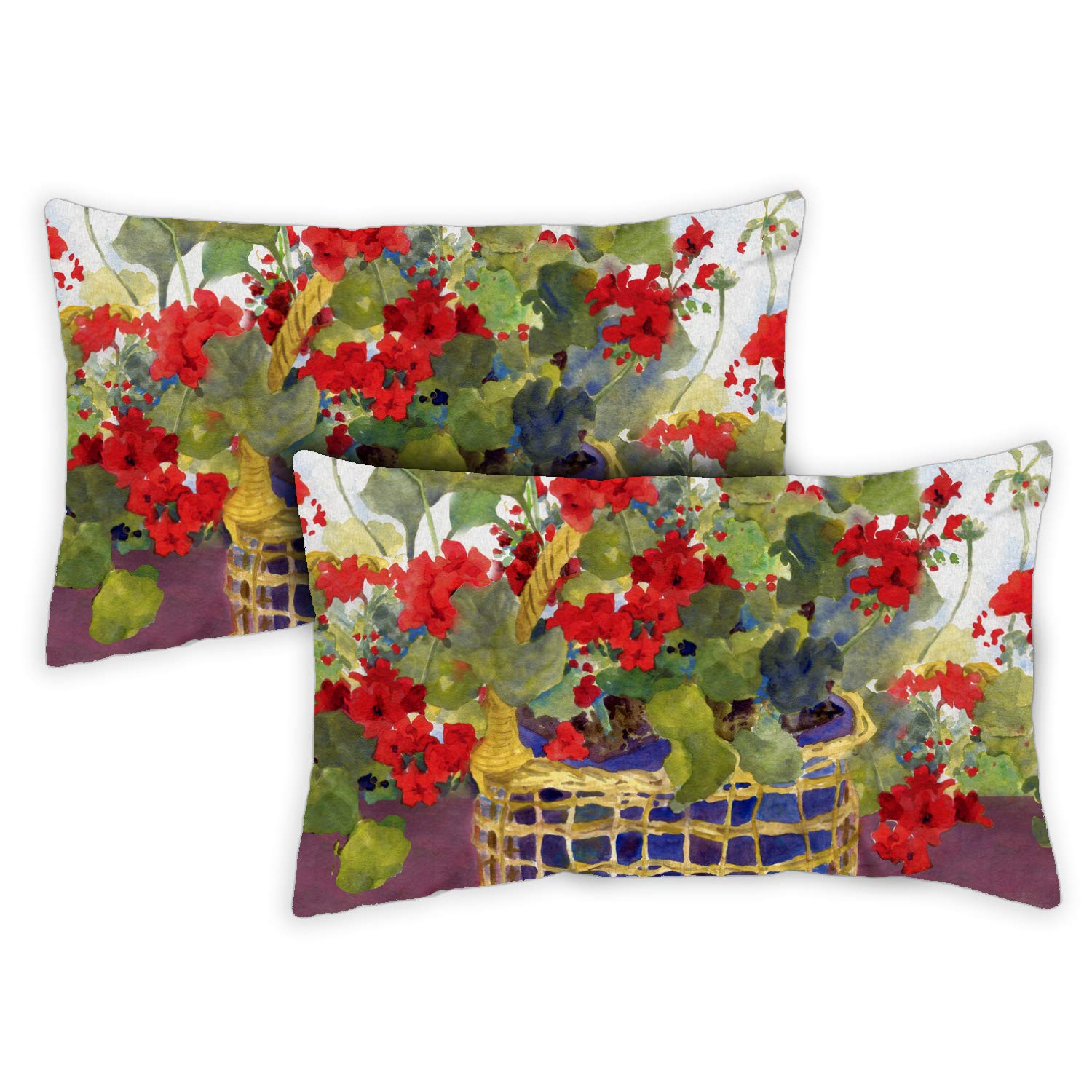 Toland Home Garden 731218 Geranium Basket 12 x 19 Inch Indoor Outdoor, Pillow, Insert 2-Pack