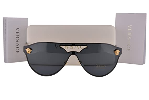 dd395a010c Versace VE2161 Sunglasses Gold Black w Gray Lens 100287 VE 2161  Amazon.co. uk  Clothing