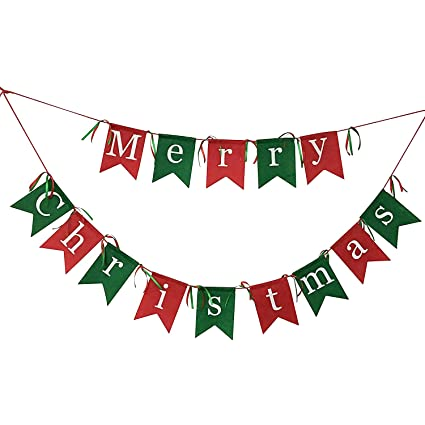 non woven fabrics merry christmas garlands banner sign for holiday decoration christmas party favors - Christmas Garlands