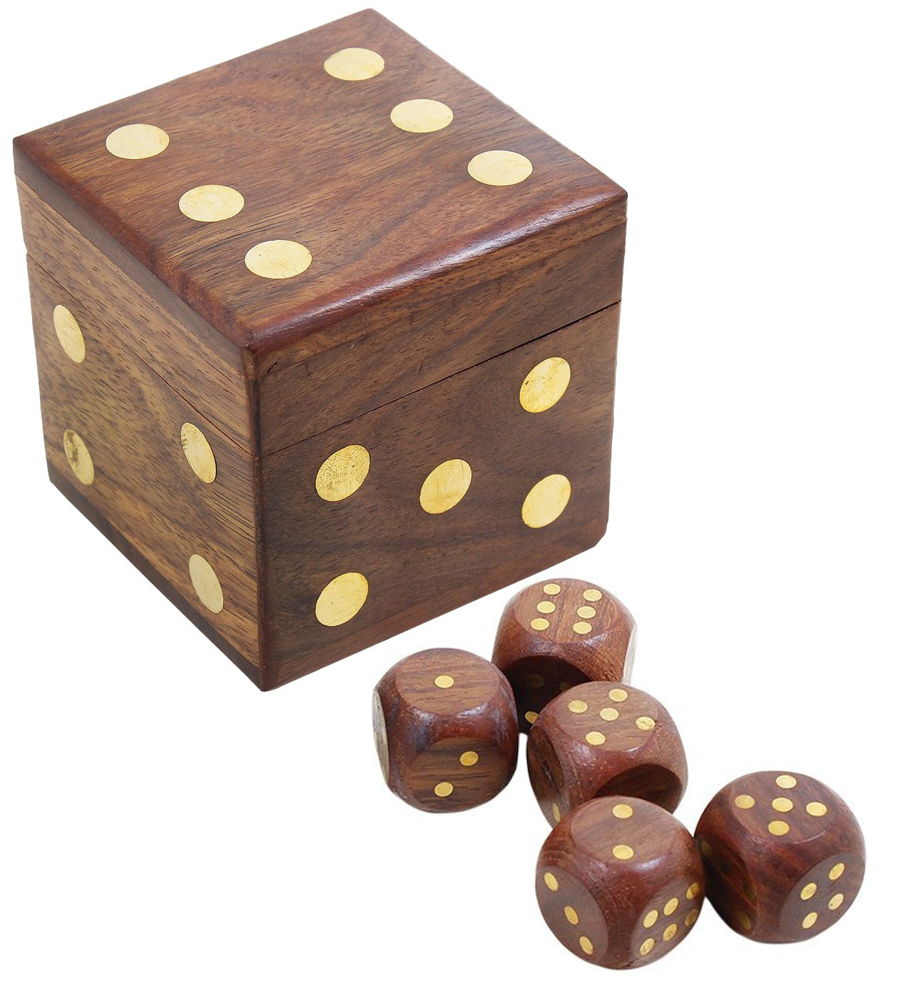 Handmade Indian Dice Game Set with Decorative Storage Box - Includes 5 Wooden Dice - Unique Gifts for Adults