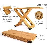 Fox & helecho guitarra taburete de pie – madera de bambú profesional reposapiés – imanes para fijar posición…