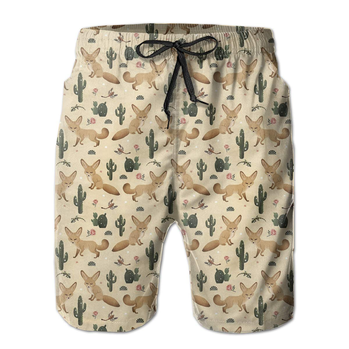 d8efe458165e4 White ROLLING ROLLING ROLLING HOP Men's Dry Swim Trunks Cactus and Cute  Little Fox Beach Shorts for Outside Home with Pockets eb65df
