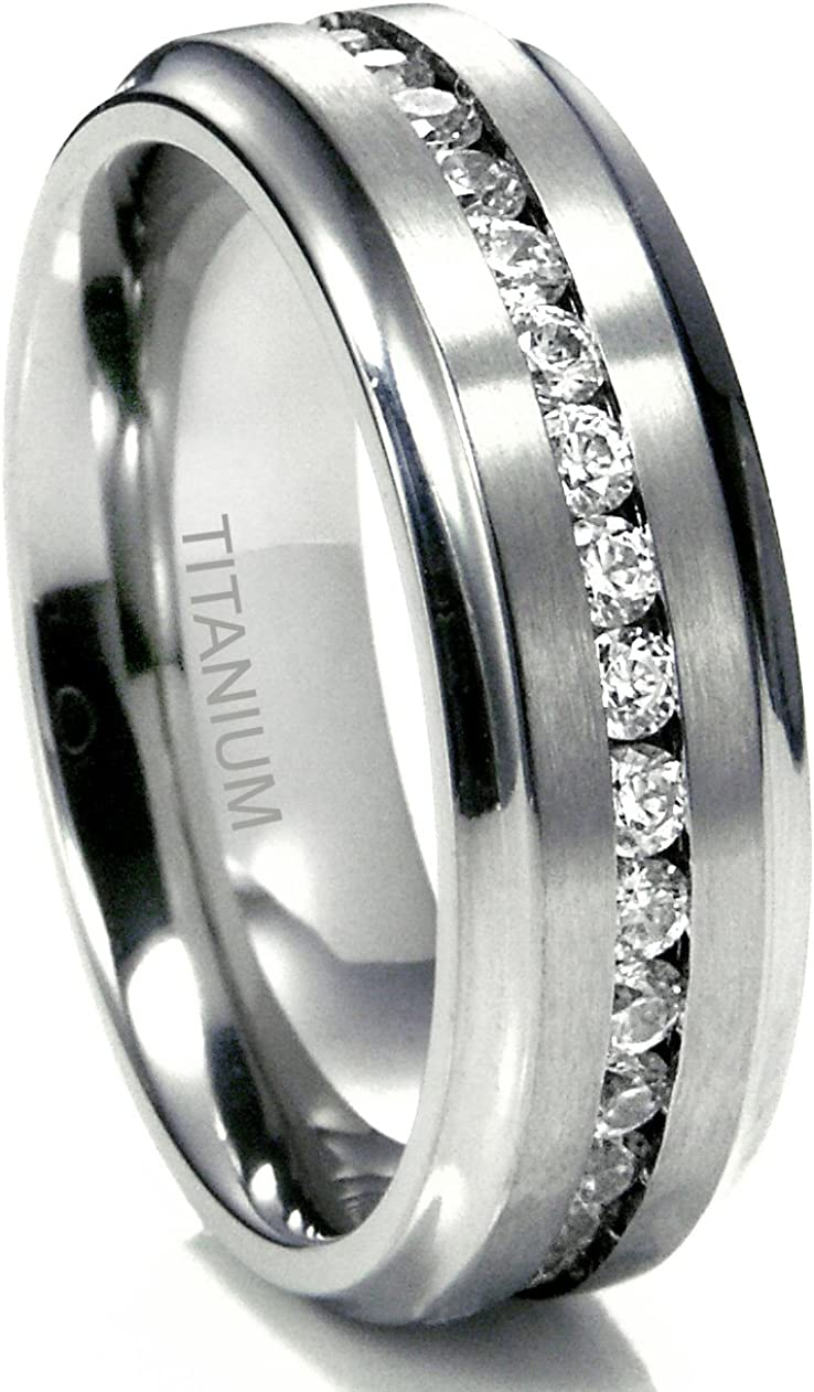 Metal Factory 7MM Men's Eternity Titanium Ring Wedding Band with CZ w Box (Sizes 7 to 13)