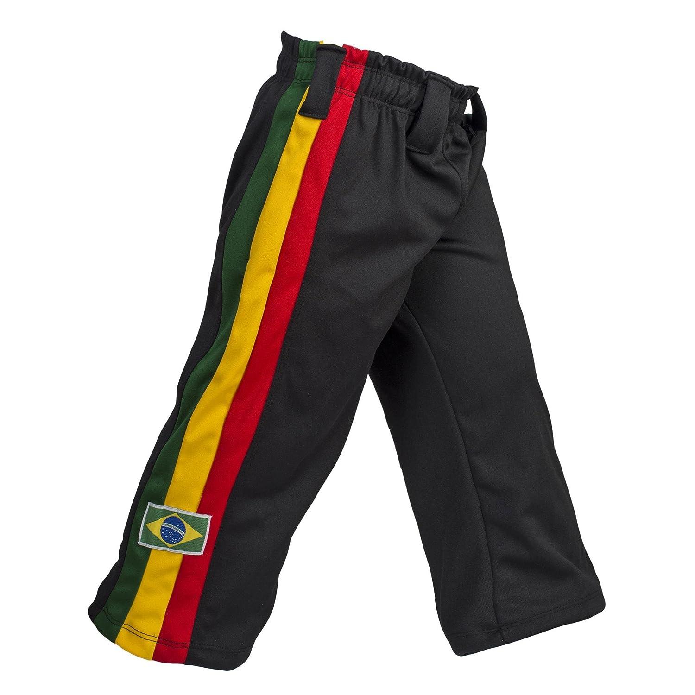 Jlsport Unisex Negro Brasil Reggae Capoeira niños Abada entrenamiento de artes marciales a pantalones elásticos de 6 - 14 años