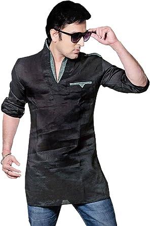 MapleClothing Ropa India Camisa para Hombres Corto Kurta Vestido De Algodón De Lino (Negro, XL): Amazon.es: Ropa y accesorios