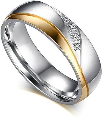 Beydodo 1 PCS Edelstahl Ringe für Ihn und Sie Hochglanzpoliert Matte Fertig Zirkonia Breite 6MM Trauringe Freundschaftsringe Paarringe Gold Gold