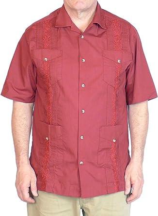 Squish - Camisa de Guayabera (100% algodón), Color Rojo