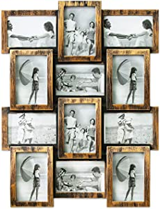 """Hello Laura - Photo Frame Classic Picture Frame Gallery Collection Display 12 Opening 23"""" x 18"""" Wall Hanging Photo Frame 6"""" x 4"""" Photo Sockets x 12, Bronze Like Edge   Gallery Style"""