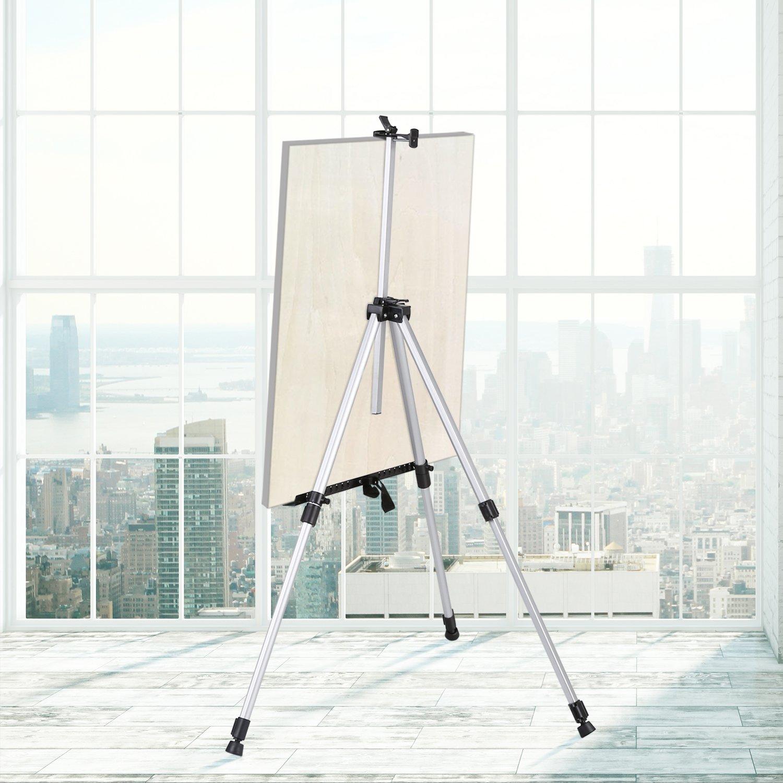 poster Amzdeal Cavalletto da pittore leggero argento in alluminio 5 ft perfetto per mostra darte pittura personale