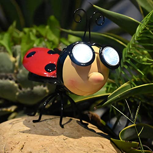Metal Garden Art Decoration Ladybug Solar Garden Lights Outdoor Statue Decor, Solar Powered Decorative Figurine Light with LED Light for Path, Yard, Lawn, Patio, Backyard Ladybug