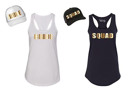 1a3bbf41d5864 Custom Apparel R Us Bride Squad Bachelorette Party Wedding Womens Tank Top    Trucker Hat at Amazon Women s Clothing store