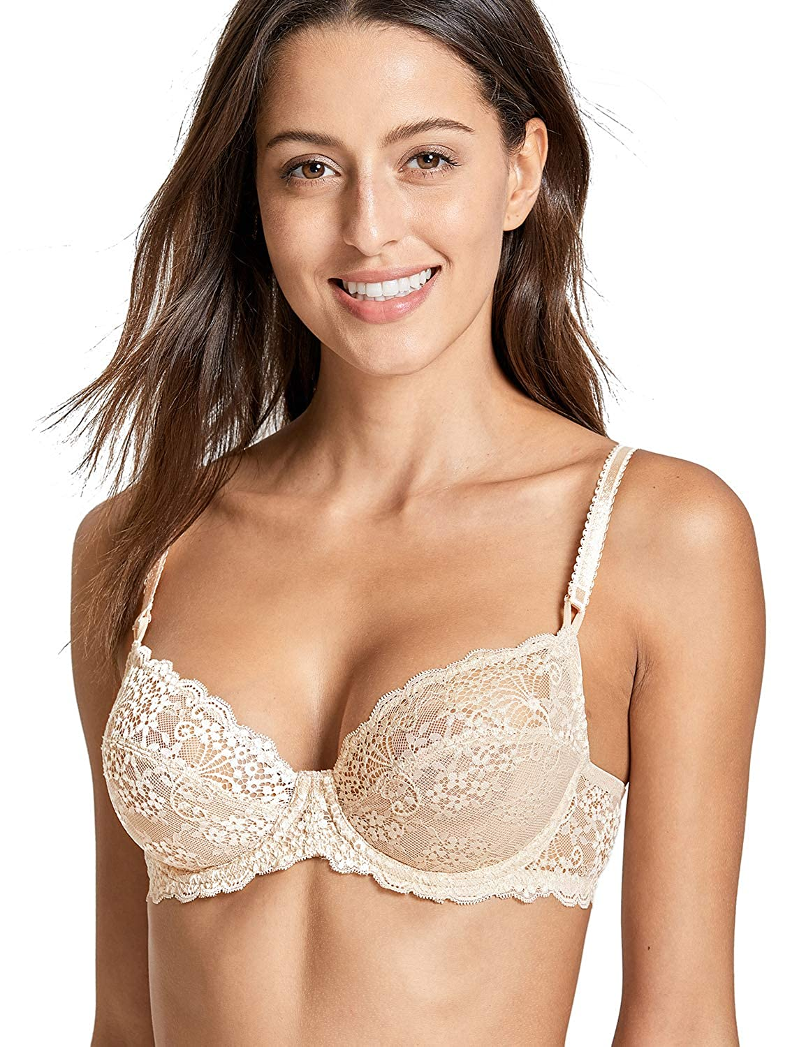 Delimira Women's Underwired Non Padding Floral Lace Breathable Balconette Bra