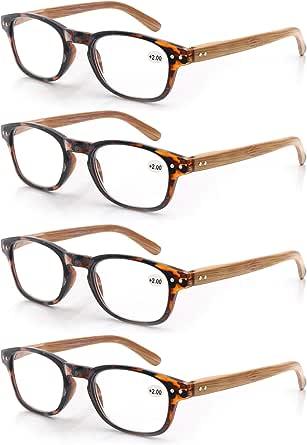 MODFANS 4 paar leesbril mode hout-look bedrukt voor mannen vrouwen, ronde frame comfort lente scharnieren, lezers brillen stijlvolle zwart-blauw-schildpad-geel