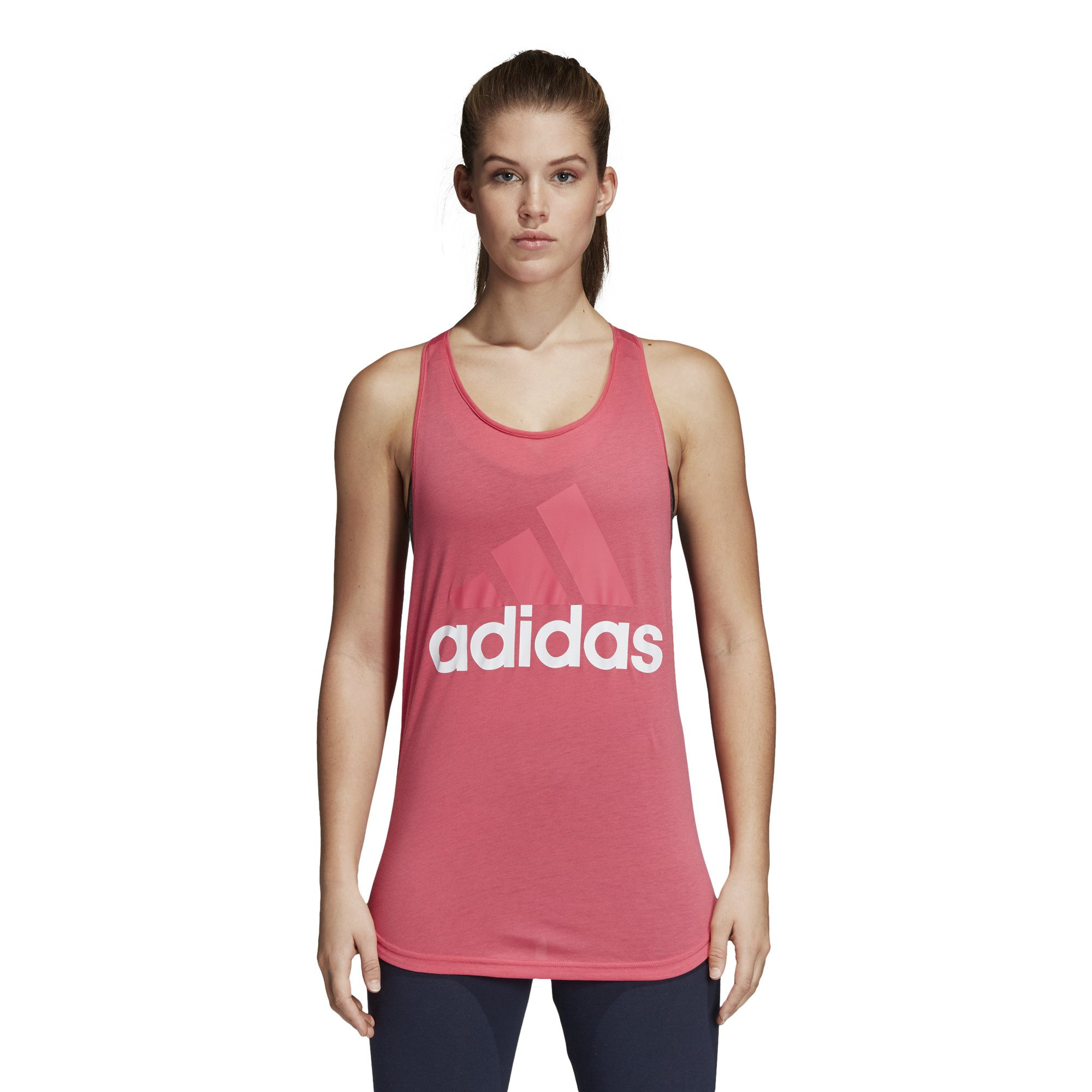 adidas Women's Essentials Linear Loose Tank Top Real Pink/White Small