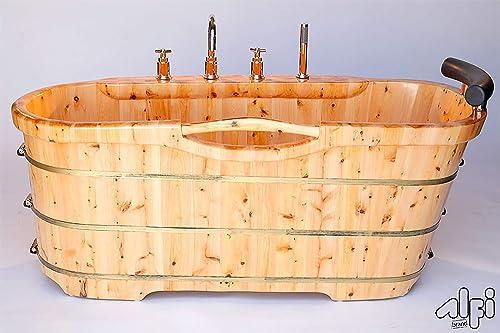 ALFI brand AB1136 61-Inch Free Standing Cedar Wood Bath Tub with Chrome Tub Filler