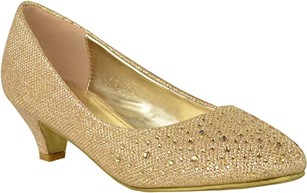 Womens Court Shoes Sparkly Gold Diamante Evening Classic Pumps Kitten Heel Size