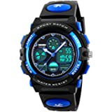 Digital Watches for Kids Boys - 50M Waterproof Outdoor Sports Analogue Watch with Alarm/Timer/Dual Time Zone/LED Light, Childrens Electronic Shock Resistant Wrist Watches for Junior Teenagers