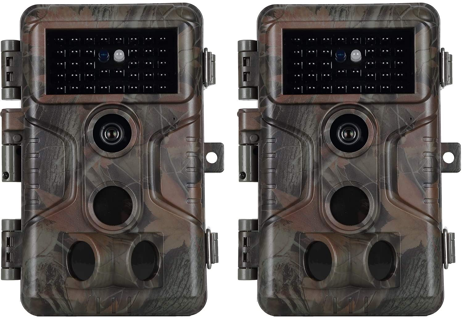 2-Pack No Glow Game & Deer Trail Cameras 20MP 1080P H.264 Video 100ft Night Vision Motion Activated 0.1S Trigger Speed Waterproof Farm & Yard Cameras for Home Surveillance & Outdoor Wildlife Hunting