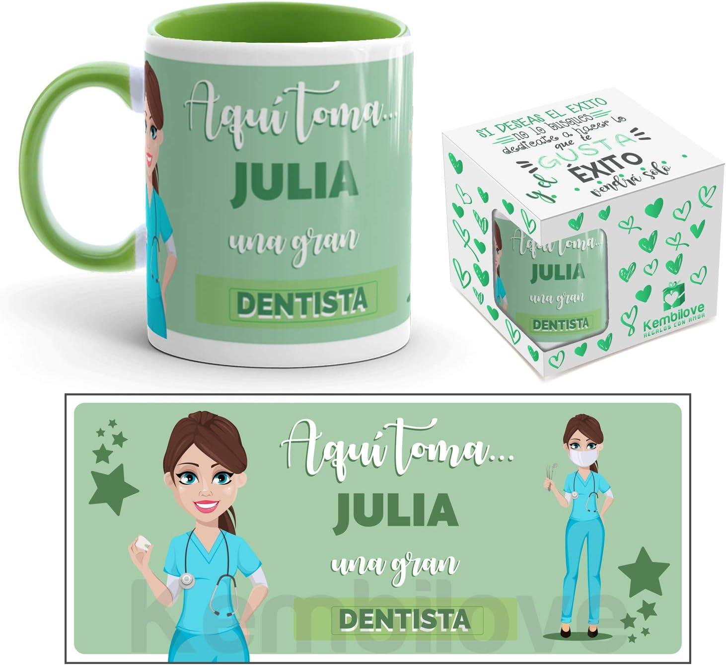Kembilove Taza de Café del Mejor Dentista del Mundo Personalizada con el Nombre – Taza de Desayuno para la Oficina – Taza de Café y Té para Profesionales – Taza de Cerámica Impresa para Dentista