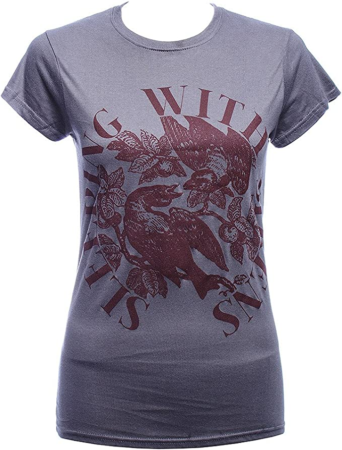Official T Shirt SLEEPING WITH SIRENS Grey BIRDS Skinny Band Tee All Sizes