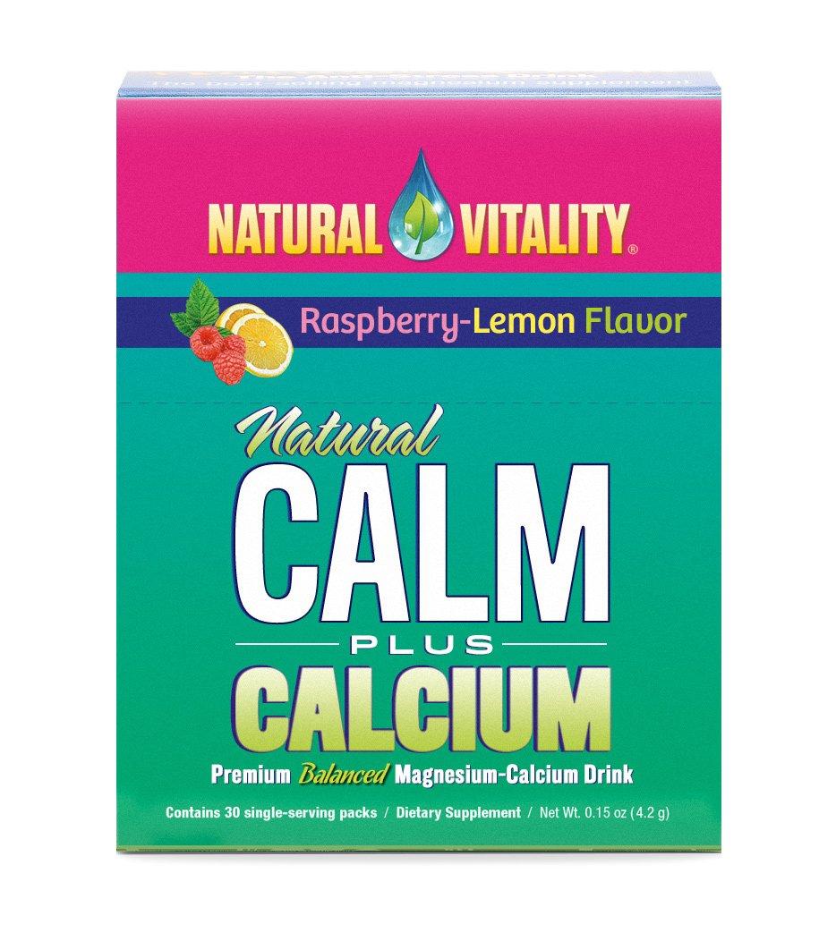 Natural Vitality, Natural Calm plus Calcium Drink Powder, Raspberry-Lemon, 30 ct., Anti-Stress Drink. Magnesium Supplement
