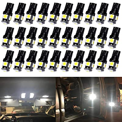 Qoope - Pack of 30 - Bright White 194 T10 168 2825 W5W Car Interior Replacement LED Light Bulb - 5th Generation 5050 Chipsets 5SMD Lighting Source for 12V License Plate Map Dome Lights Lamp: Automotive