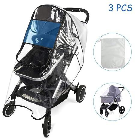 BelleStyle Protector de lluvia universal para cochecitos capazos de bebé Protector de Lluvia con ventana Se adapta a cualquier carrito con una ...