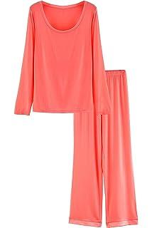 Latuza Women s Round Neck Sleepwear Long Sleeves Pajama Set eed20c19e
