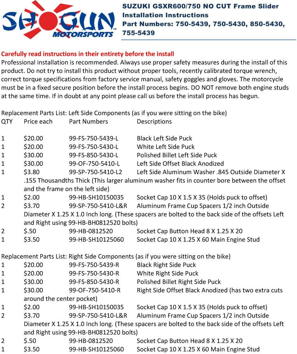 715-5439 MADE IN THE USA Shogun Suzuki GSXR600 GSXR 600 GSXR750 GSXR 750 2008 2009 2010 PA2 Black No Cut Frame Sliders