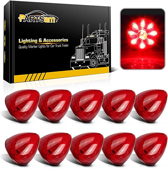 3.5 Inch 16 LED Round Beehive Cone Trailer Led Side Marker Clearance Lights Red//Amber 16 Diodes Submersible 12V Rear Tracking Lights Replacement for Peterbilt Trucks ATV Motorcycle Red, 2 Piece
