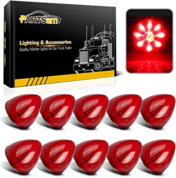 Partsam 10Pcs 2 Inch Round Beehive Cone Trailer Led Side Marker Clearance lights Red 9 Diodes Submersible 12V Rear Tracking Lights For Peterbilt Trucks ATV Motorcycle Beehive Led Marker Lights