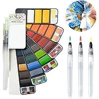 Watercolor Paint Set, 33 Colors Professional Foldable Watercolor Paint Set with Water Brush, Great for Adults Kids Field…