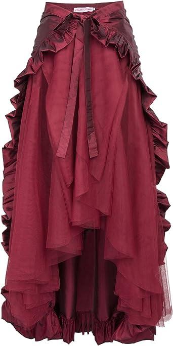 Belle Poque Falda Asimétrica para Mujer Vintage con Volante ...
